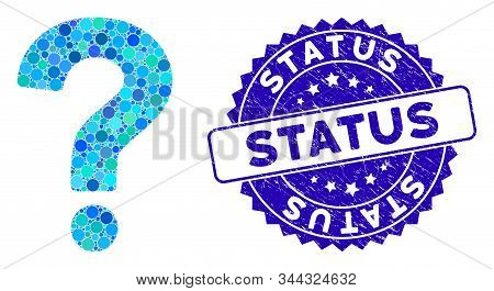 Mosaic Status Icon And Distressed Stamp Seal With Status Text. Mosaic Vector Is Designed With Status
