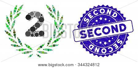 Mosaic Second Laurel Wreath Icon And Corroded Stamp Watermark With Second Text. Mosaic Vector Is Des