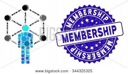 Mosaic Human Network Icon And Corroded Stamp Seal With Membership Caption. Mosaic Vector Is Created