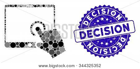 Collage Hand Touch Pda Icon And Rubber Stamp Seal With Decision Caption. Mosaic Vector Is Created Wi