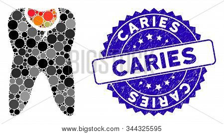 Mosaic Tooth Caries Icon And Corroded Stamp Seal With Caries Text. Mosaic Vector Is Composed With To