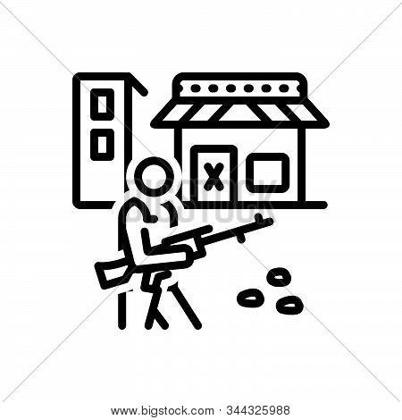 Black Line Icon For Curfew Soldier Gun Army Defense Rifle Terrorism