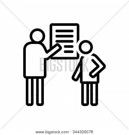 Black Line Icon For Debrief Communication Counseling Consultation Investigation Inquiry