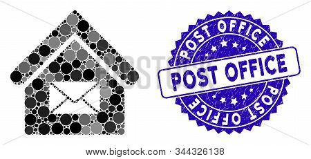 Mosaic Post Office Icon And Distressed Stamp Seal With Post Office Text. Mosaic Vector Is Created Wi