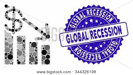 Mosaic Recession Icon And Distressed Stamp Seal With Global Recession Caption. Mosaic Vector Is Comp