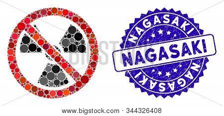 Mosaic No Radioactive Icon And Corroded Stamp Watermark With Nagasaki Phrase. Mosaic Vector Is Creat