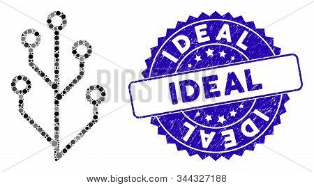 Mosaic Hi-tech Tree Icon And Rubber Stamp Seal With Ideal Phrase. Mosaic Vector Is Created With Hi-t