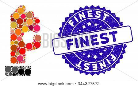 Collage Ok Gesture Icon And Grunge Stamp Seal With Finest Caption. Mosaic Vector Is Formed From Ok G