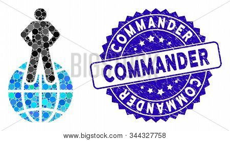 Mosaic World Commander Icon And Distressed Stamp Seal With Commander Phrase. Mosaic Vector Is Formed