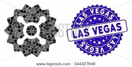 Mosaic Roulette Token Icon And Distressed Stamp Seal With Las Vegas Text. Mosaic Vector Is Composed