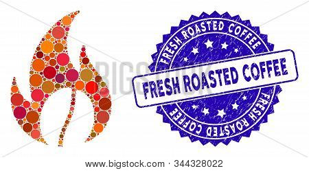 Mosaic Roasted Coffee Icon And Rubber Stamp Seal With Fresh Roasted Coffee Caption. Mosaic Vector Is