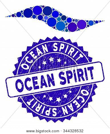 Mosaic Wave Shape Icon And Distressed Stamp Seal With Ocean Spirit Text. Mosaic Vector Is Composed W
