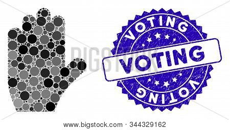 Mosaic Voting Hand Icon And Rubber Stamp Watermark With Voting Text. Mosaic Vector Is Designed With