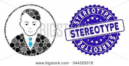 Collage Rounded Gentleman Icon And Grunge Stamp Seal With Stereotype Phrase. Mosaic Vector Is Formed