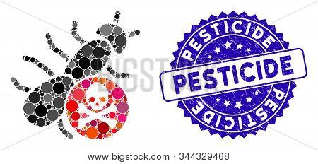 Mosaic Pesticide Icon And Rubber Stamp Seal With Pesticide Caption. Mosaic Vector Is Composed With P