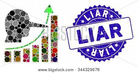 Mosaic Liar Hyip Chart Icon And Corroded Stamp Seal With Liar Text. Mosaic Vector Is Composed With L