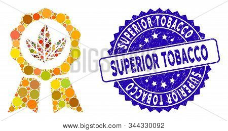 Mosaic Superior Tobacco Icon And Corroded Stamp Watermark With Superior Tobacco Text. Mosaic Vector