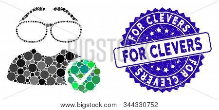 Collage For Clevers Icon And Grunge Stamp Seal With For Clevers Caption. Mosaic Vector Is Created Wi