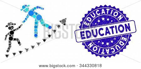 Mosaic Gentlemen Education Growth Icon And Rubber Stamp Watermark With Education Text. Mosaic Vector