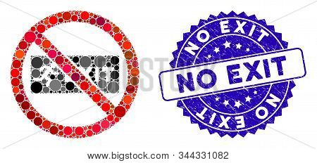 Mosaic No Exit Icon And Grunge Stamp Seal With No Exit Caption. Mosaic Vector Is Formed From No Exit