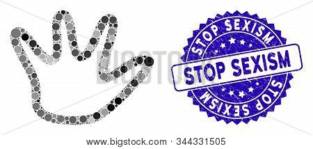 Mosaic Negation Gesture Icon And Grunge Stamp Seal With Stop Sexism Text. Mosaic Vector Is Created W