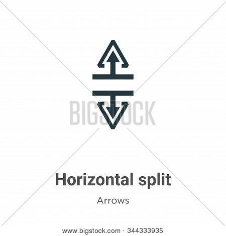 Horizontal split icon isolated on white background from arrows collection. Horizontal split icon tre
