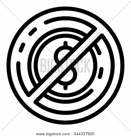No Money Laundering Icon. Outline No Money Laundering Vector Icon For Web Design Isolated On White B