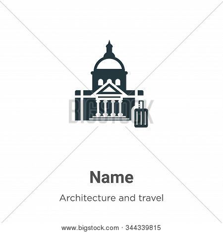 Name icon isolated on white background from architecture and travel collection. Name icon trendy and