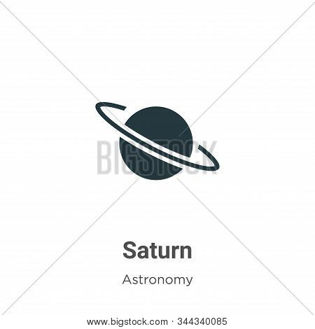 Saturn Vector Icon On White Background. Flat Vector Saturn Icon Symbol Sign From Modern Astronomy Co