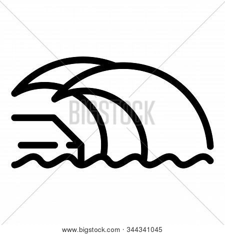 Beach Tsunami Icon. Outline Beach Tsunami Vector Icon For Web Design Isolated On White Background