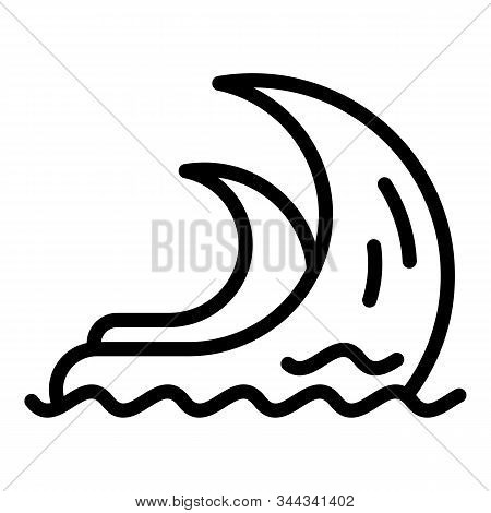 Accident Tsunami Icon. Outline Accident Tsunami Vector Icon For Web Design Isolated On White Backgro