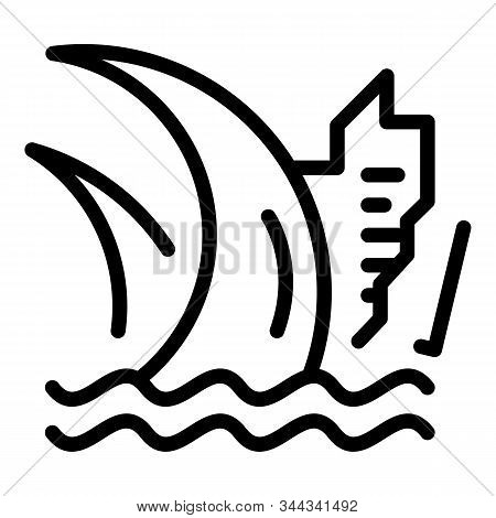 Water Tsunami Icon. Outline Water Tsunami Vector Icon For Web Design Isolated On White Background