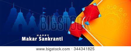 Happy Makar Sankranti Kites And Temples Banner Design