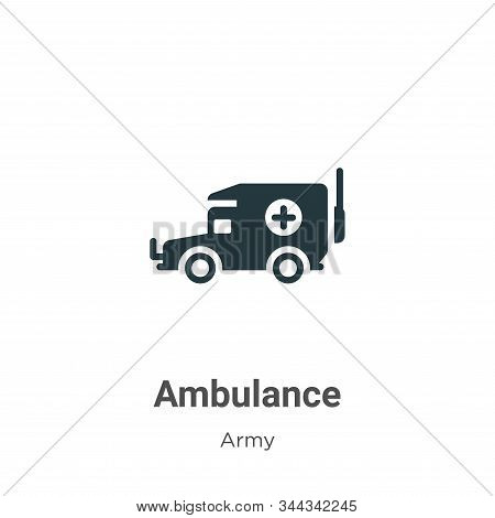 Ambulance icon isolated on white background from army collection. Ambulance icon trendy and modern A