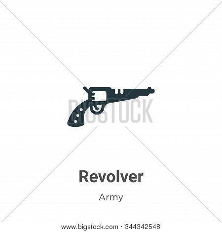 Revolver icon isolated on white background from army collection. Revolver icon trendy and modern Rev