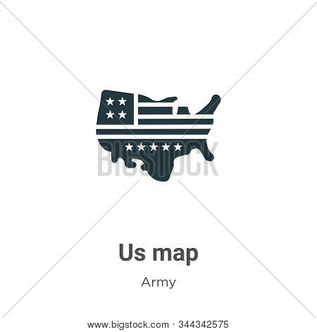 Us map icon isolated on white background from army collection. Us map icon trendy and modern Us map