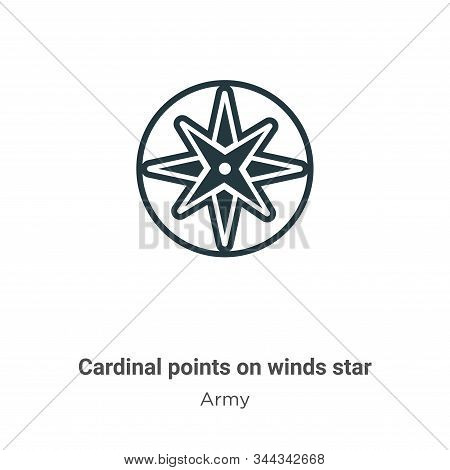 Cardinal points on winds star icon isolated on white background from army collection. Cardinal point