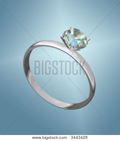 Diamond Engagement Ring On Blue