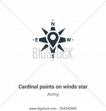 Cardinal points on winds star symbol vector icon isolated on white background from modern army colle