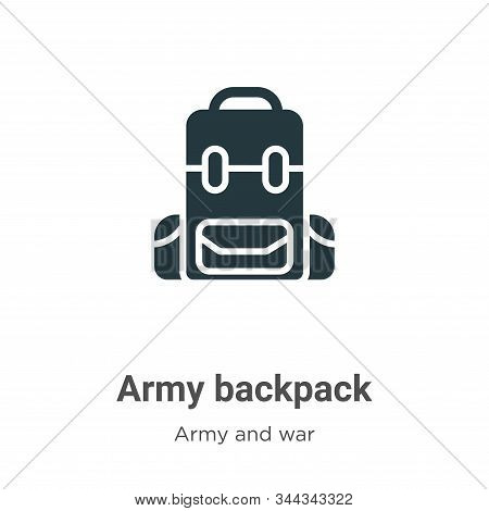 Army Backpack Vector Icon On White Background. Flat Vector Army Backpack Icon Symbol Sign From Moder