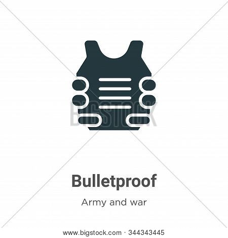 Bulletproof icon isolated on white background from army and war collection. Bulletproof icon trendy