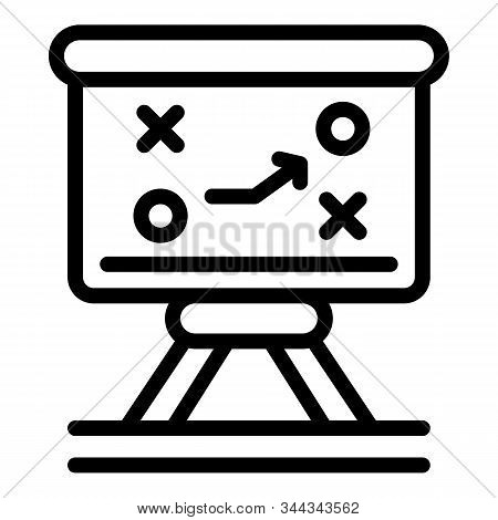 Tactical Soccer Board Icon. Outline Tactical Soccer Board Vector Icon For Web Design Isolated On Whi