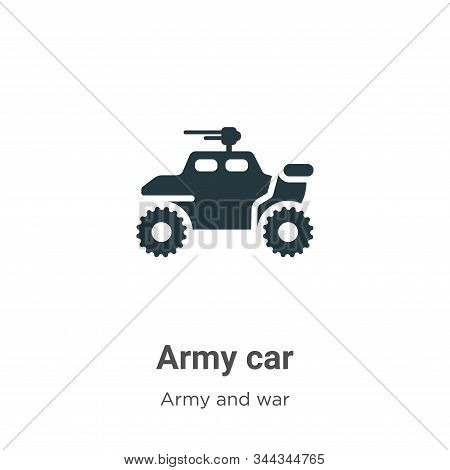 Army Car Vector Icon On White Background. Flat Vector Army Car Icon Symbol Sign From Modern Army Col