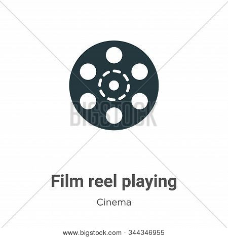Film Reel Playing Vector Icon On White Background. Flat Vector Film Reel Playing Icon Symbol Sign Fr