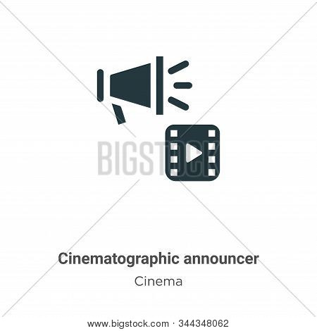 Cinematographic announcer icon isolated on white background from cinema collection. Cinematographic