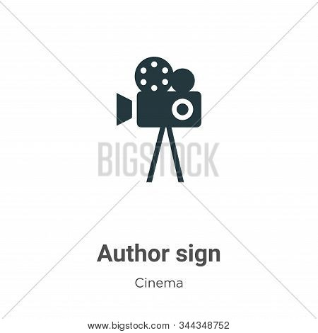 Author sign icon isolated on white background from cinema collection. Author sign icon trendy and mo