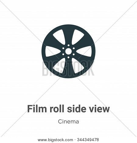 Film roll side view icon isolated on white background from cinema collection. Film roll side view ic
