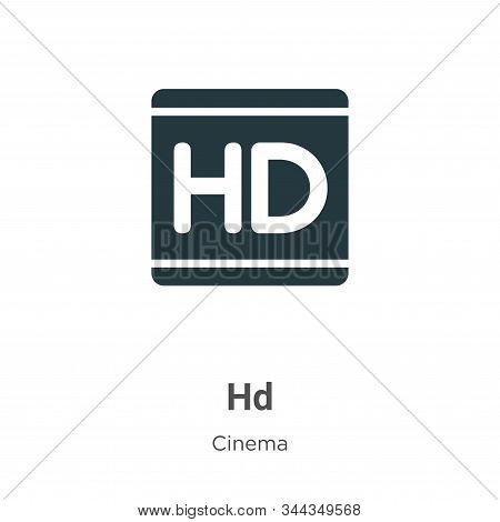 Hd Logo Vector Icon On White Background. Flat Vector Hd Logo Icon Symbol Sign From Modern Cinema Col