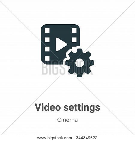 Video settings icon isolated on white background from cinema collection. Video settings icon trendy