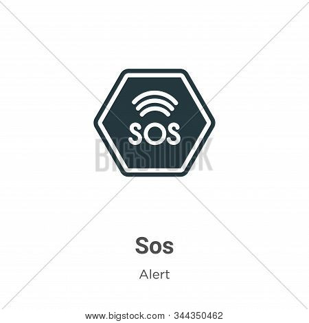 Sos Vector Icon On White Background. Flat Vector Sos Icon Symbol Sign From Modern Alert Collection F